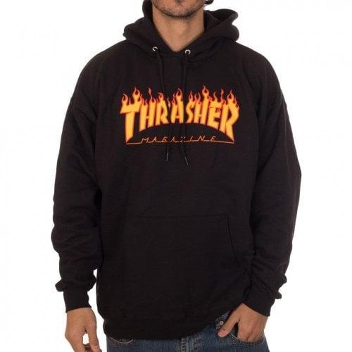 Felpa Hoodie Thrasher: Flame Logo Hood BK